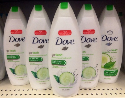 bottles of body wash from a popular brand