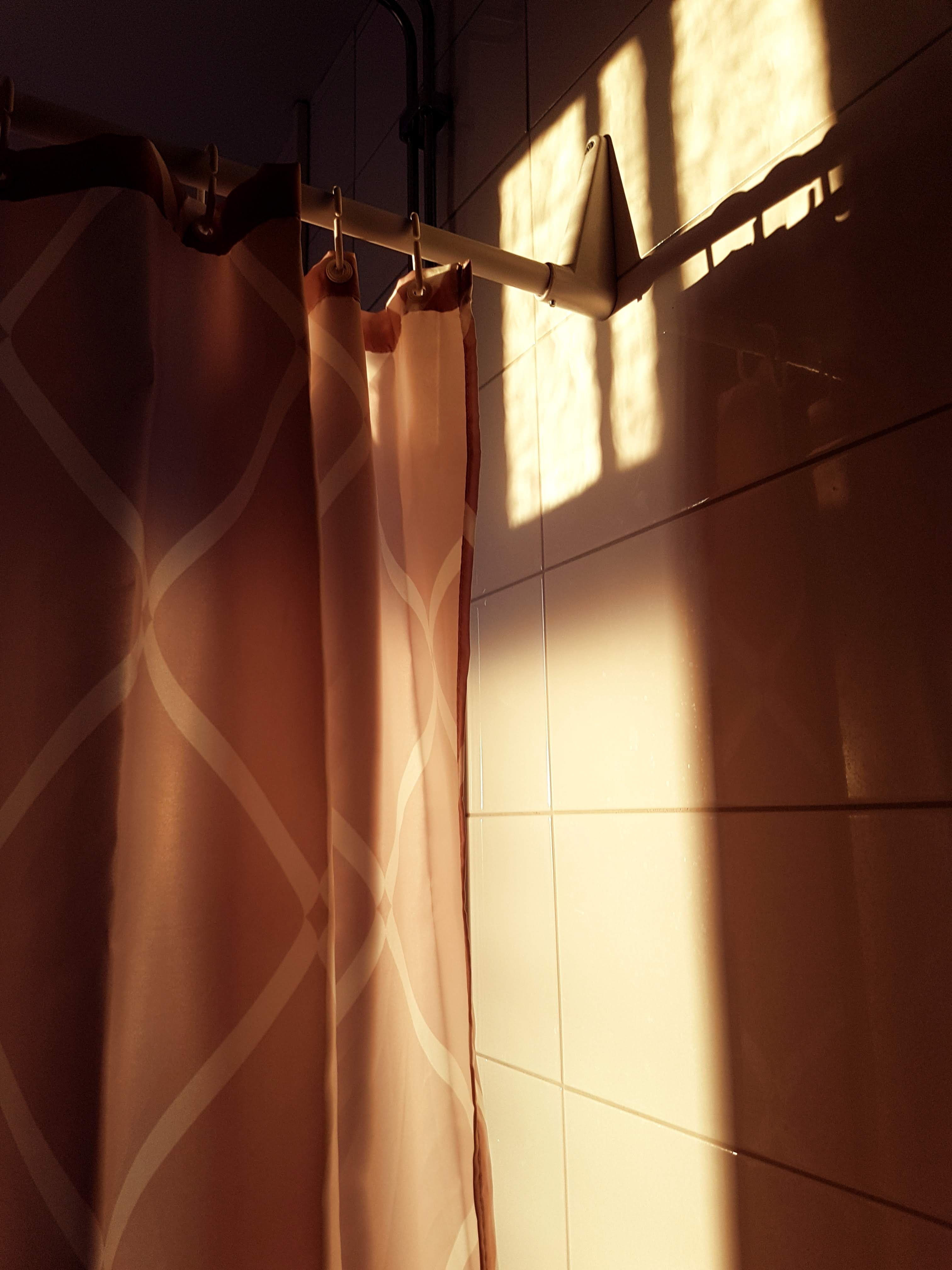 Best shower curtain is spotted because of the sunlight